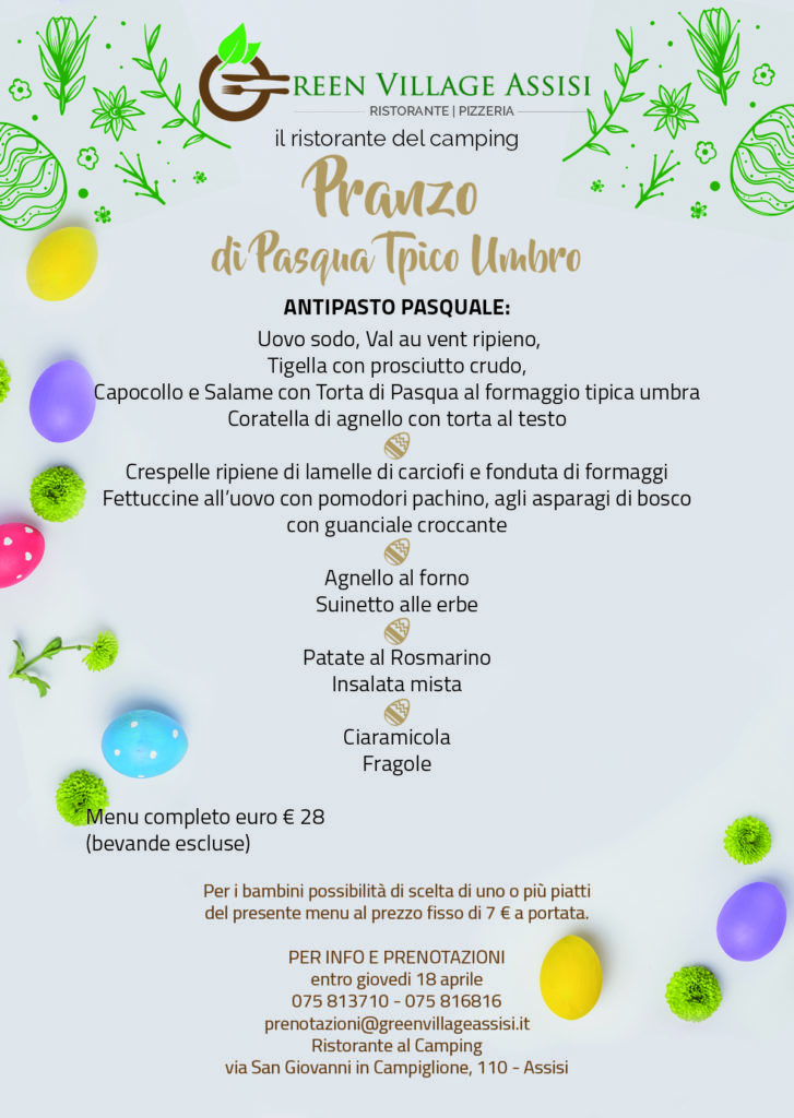 Pasqua menu 2019 green village assisi greenvillageassisi for Mobili 4 spello